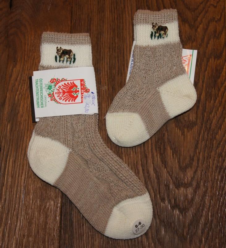 Lusana Trachten Socken Gr. 15 - 37 hellbraun / beige mit Kuh Knopf – Bild 1