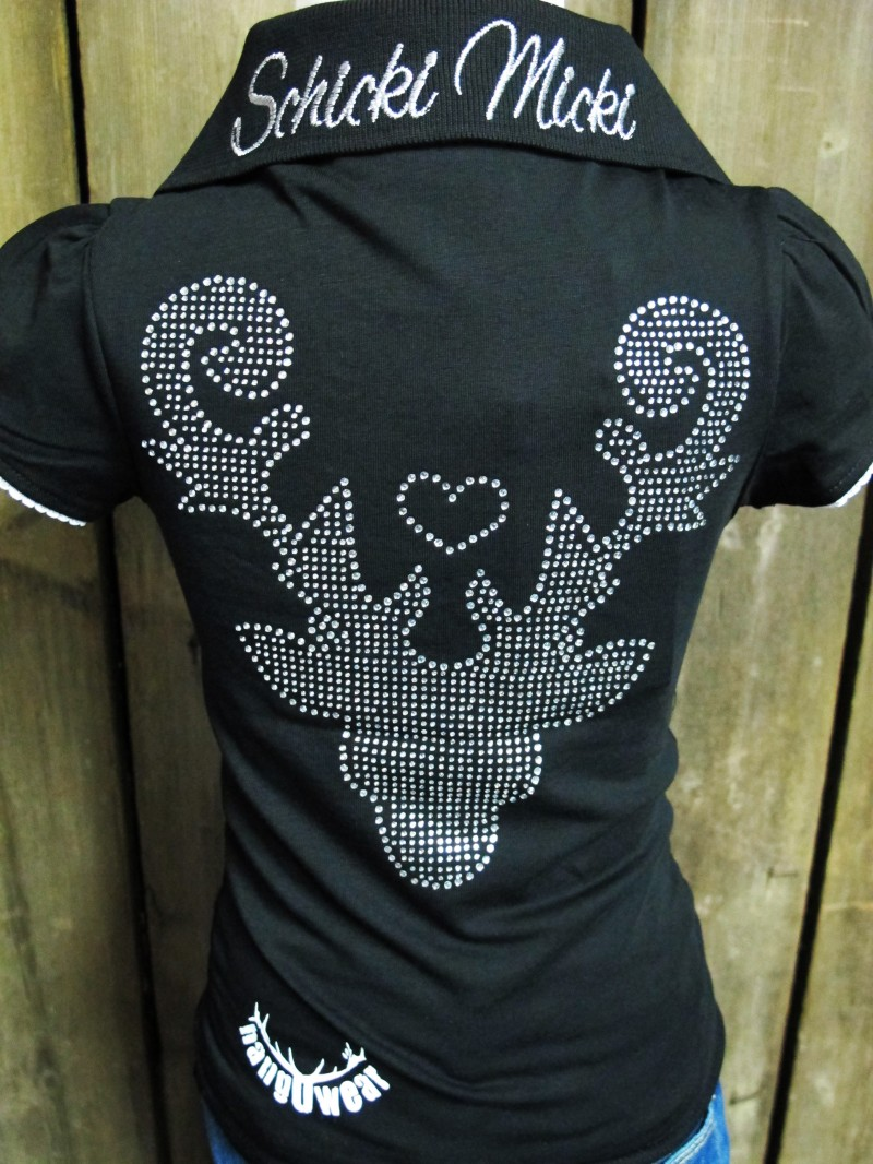 Marjo Trachten Poloshirt / Polohemd schwarz Gr. 86 - 152 – Bild 5