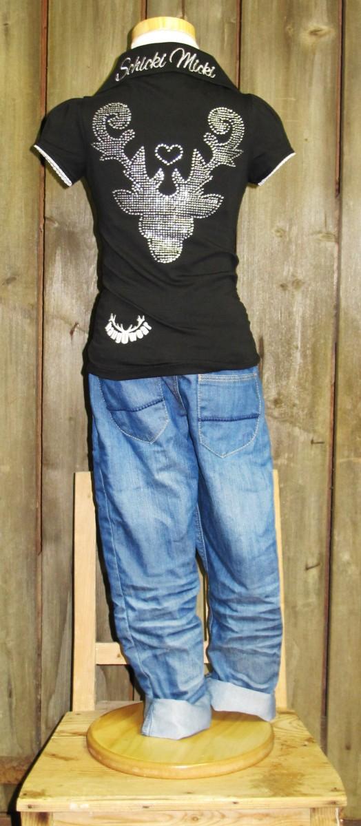 Marjo Trachten Poloshirt / Polohemd schwarz Gr. 86 - 152 – Bild 4