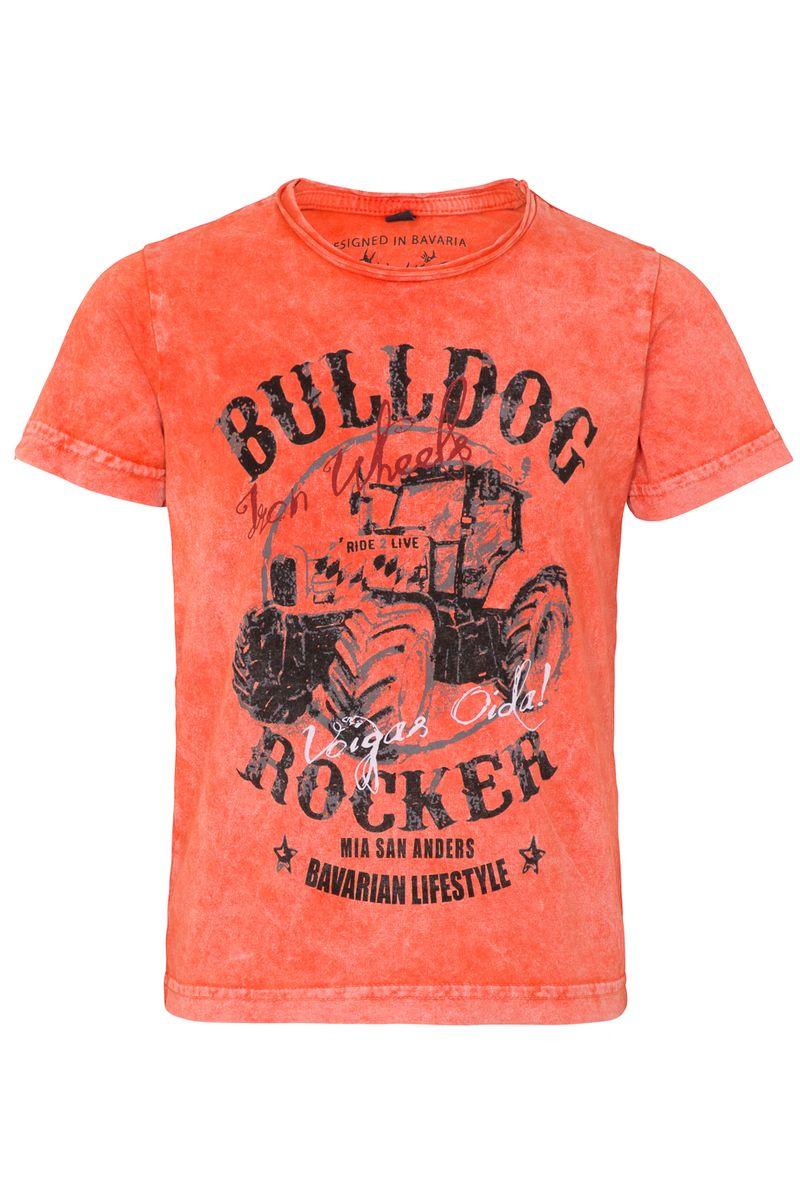 Hangowear Trachten Shirt Trachtenshirt orange  Gr. 86 - 152 Bulldog Rocker