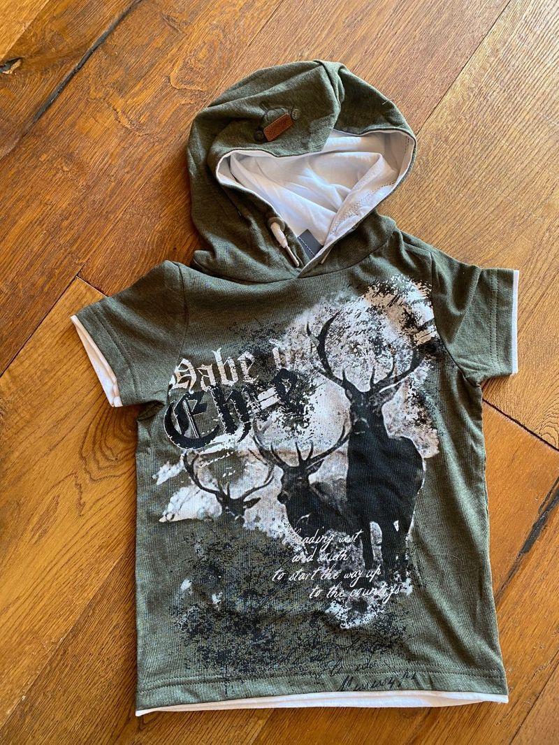 Hangowear Kaputzenshirt Shirt Kindershirt Trachtenshirt m Jungen grün  Gr. 98 - 164 mit Kaputze – Bild 1