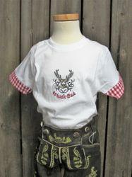 Isar Trachten T-Shirt Trachtenshirt Kindershirt  rot 68 -128 001
