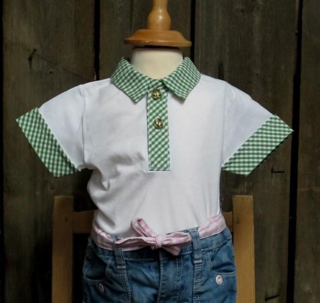 Sale Isar Trachten Poloshirt / Polohemd Trachtenshirt weiß, grün Gr. 62 - 86 – Bild 1