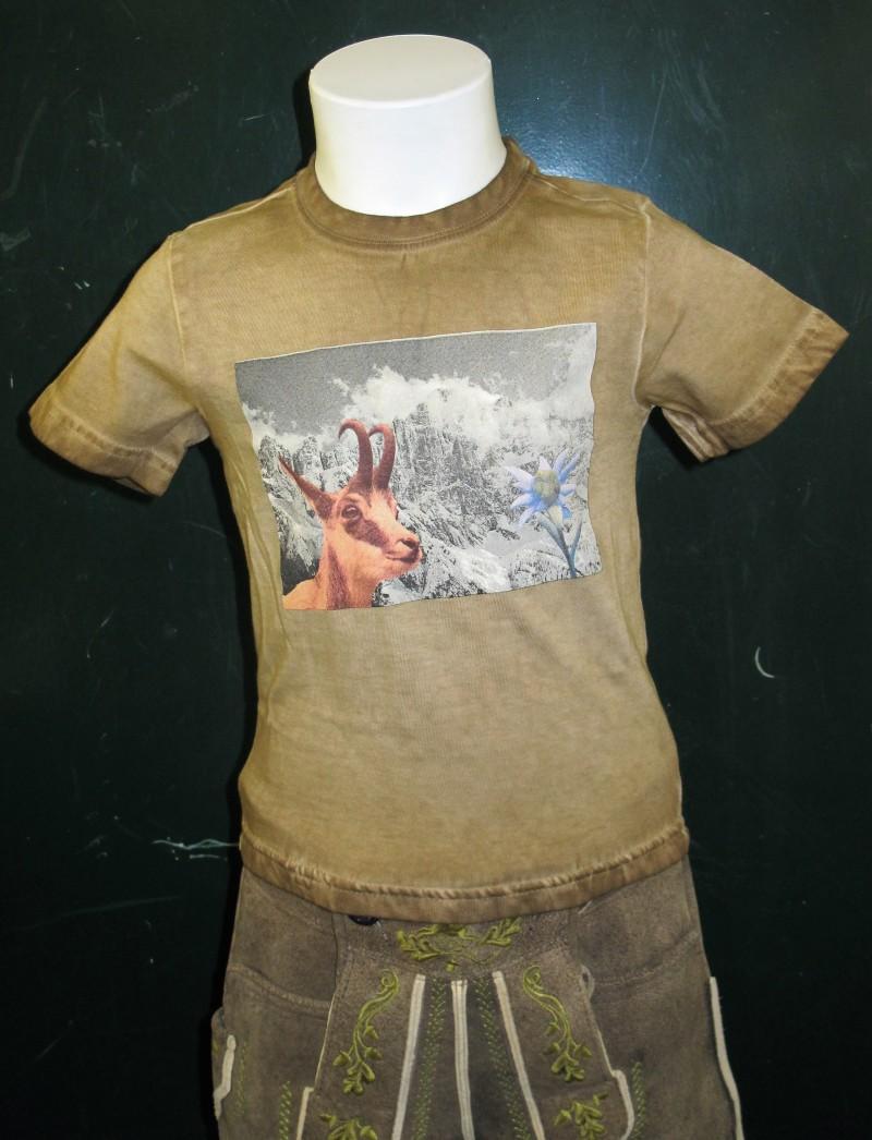Isar Trachten Trachen T-Shirt / Shirt Trachtenshirt braun mit Ziege  Gr. 68 - 164