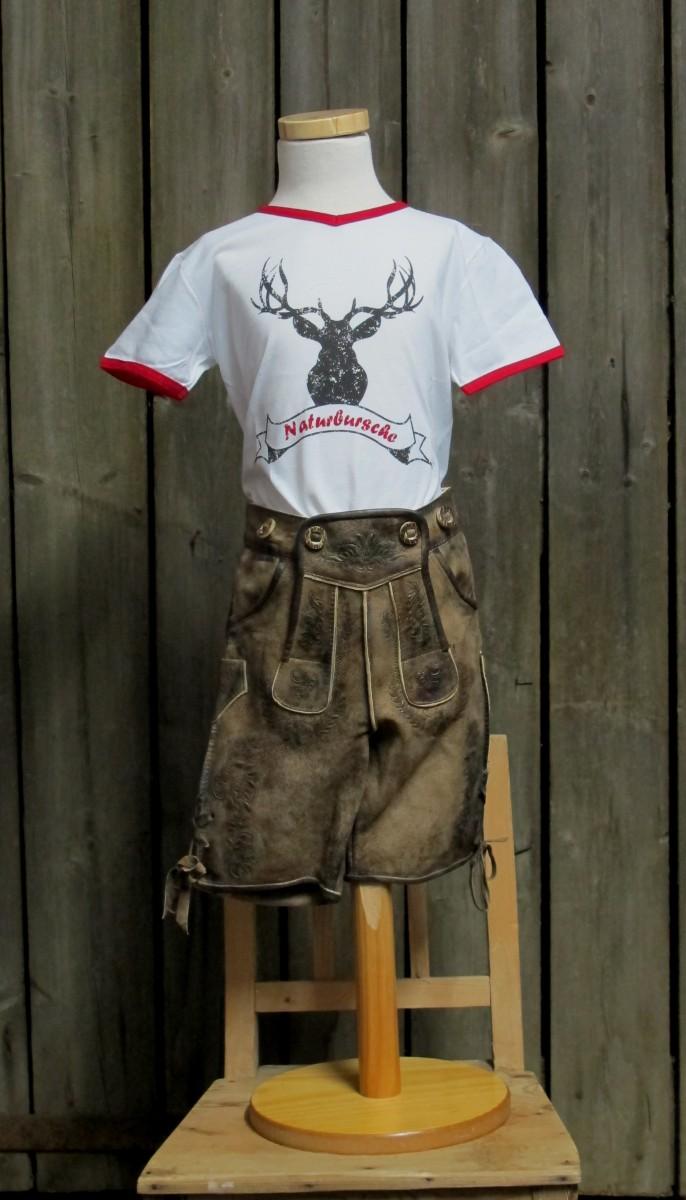"""St. Peter Trachtenshirt Kindershirt T-Shirt weiß """"Naturbursche"""" Gr. 68 - 176"""