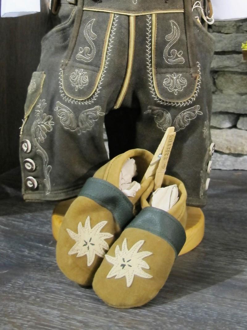 Trachtenschuhe Lederpuschen Schuhe grün mit Edelweiß Gr. 15 - 23 zur Lederhose – Bild 1