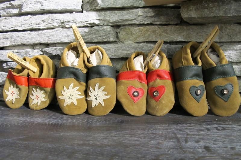 Trachtenschuhe Lederpuschen Schuhe grün mit Edelweiß Gr. 15 - 23 zur Lederhose – Bild 2