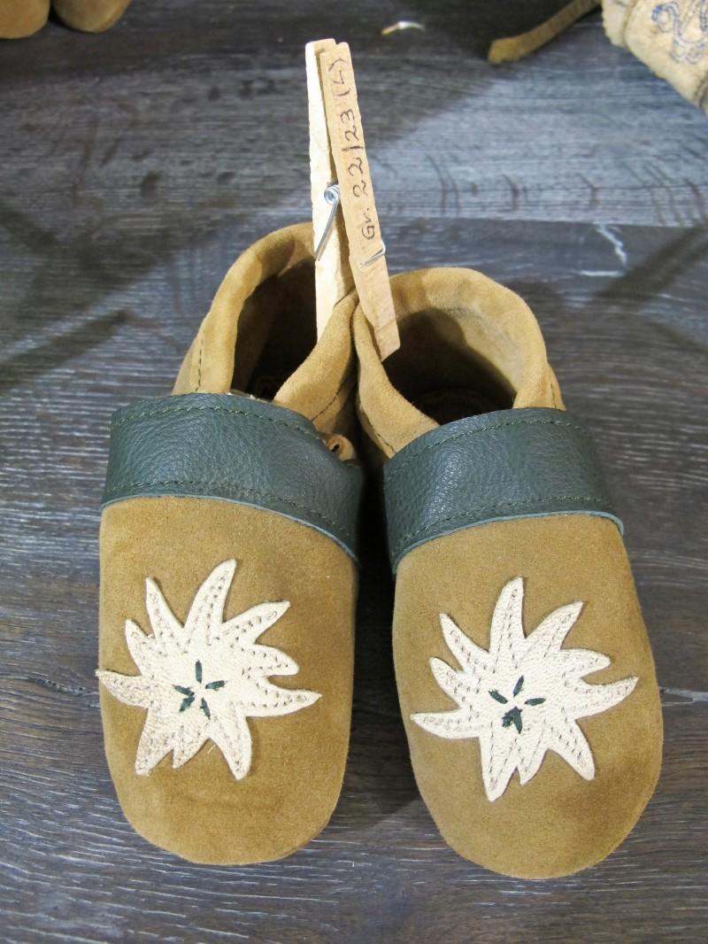 Trachtenschuhe Lederpuschen Schuhe grün mit Edelweiß Gr. 15 - 23 zur Lederhose – Bild 9
