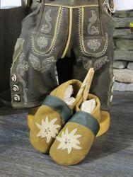 Trachtenschuhe Lederpuschen Schuhe grün mit Edelweiß Gr. 15 - 23 zur Lederhose 001