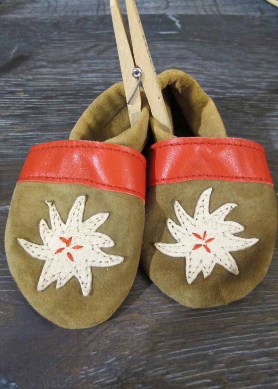 Trachtenschuhe Lederpuschen Schuhe rot mit Edelweiß Gr. 15 - 23 zur Lederhose – Bild 1
