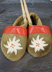 Trachtenschuhe Lederpuschen Schuhe rot mit Edelweiß Gr. 15 - 23 zur Lederhose 001
