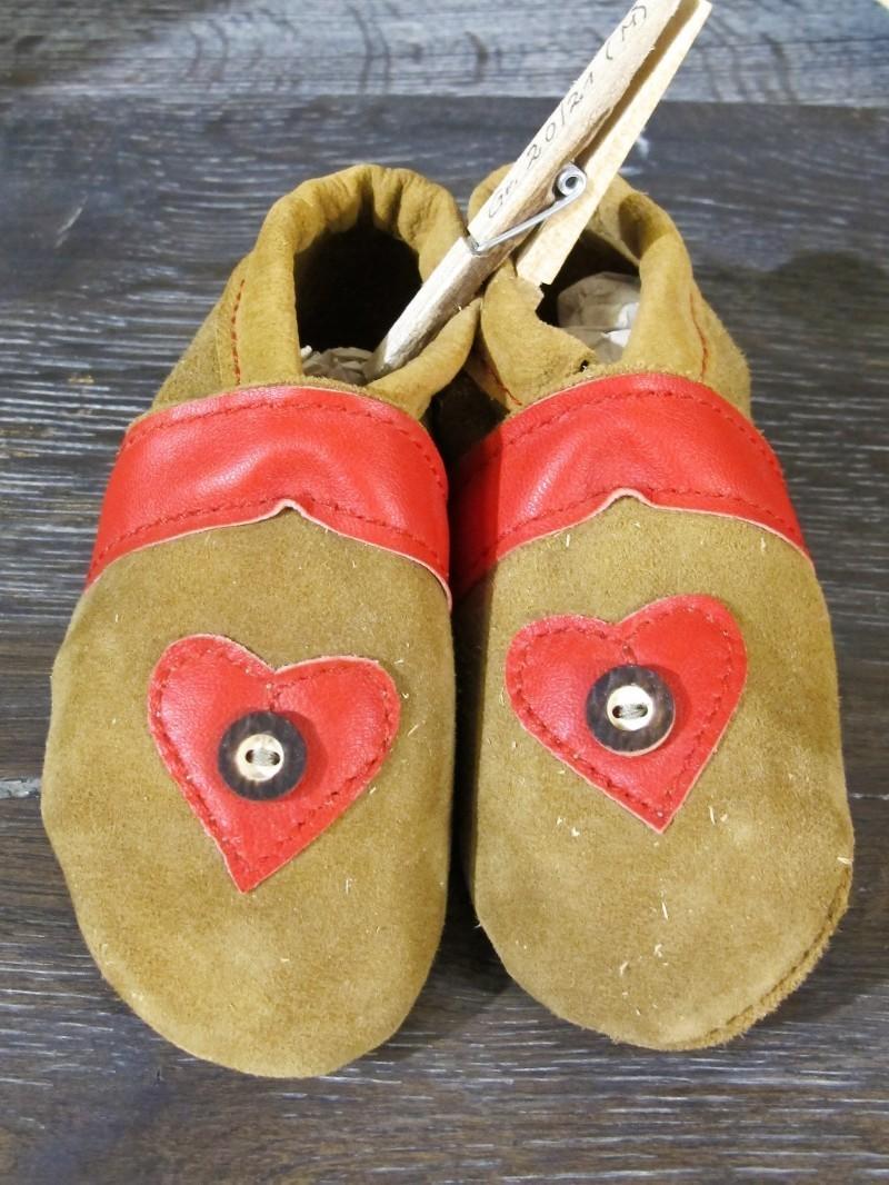 Trachtenschuhe Lederpuschen Schuhe rot mit Herz Gr. 15 - 23 zur Lederhose – Bild 1