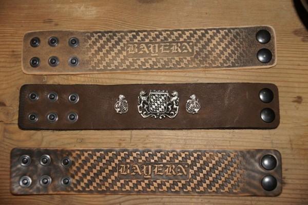 Armband Leder Lederarmband hellbraun zur Lederhose Bayernraute schmal – Bild 2