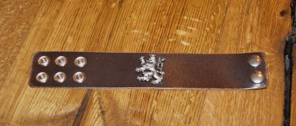 Armband Leder Lederarmband braun zur Lederhose Bayernlöwe schmal – Bild 3
