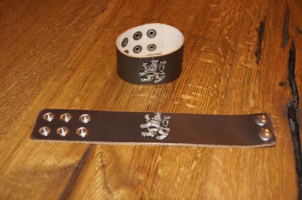 Armband Leder Lederarmband braun zur Lederhose Bayernlöwe schmal – Bild 1