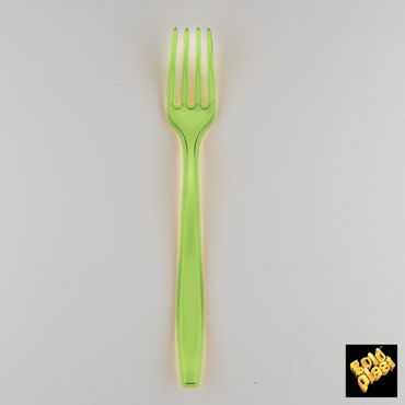 Transparent Light Green Plastic Heavy Fork (Pack of 50)