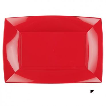 China Red Plastic Rectangular Plate (Pack of 6)