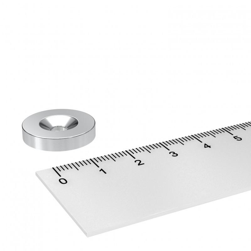Neodym Scheibenmagnet 20x4 mm mit 4.5 mm Bohrung