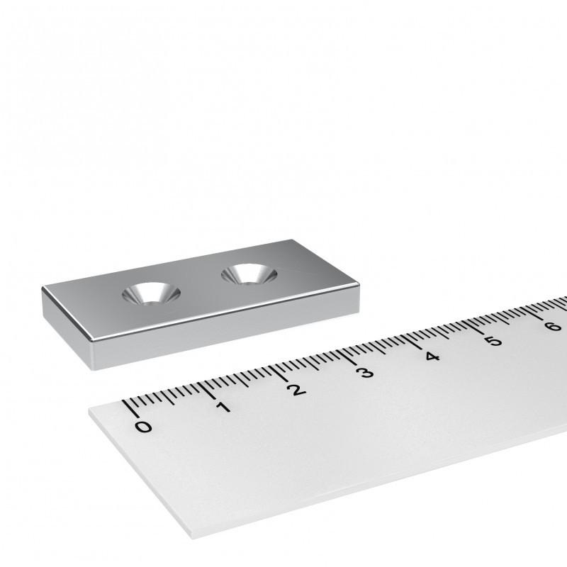 4x Neodym Magnet Mit Loch Quader 30x10x5mm Magnetquader Bohrung Senkung M4