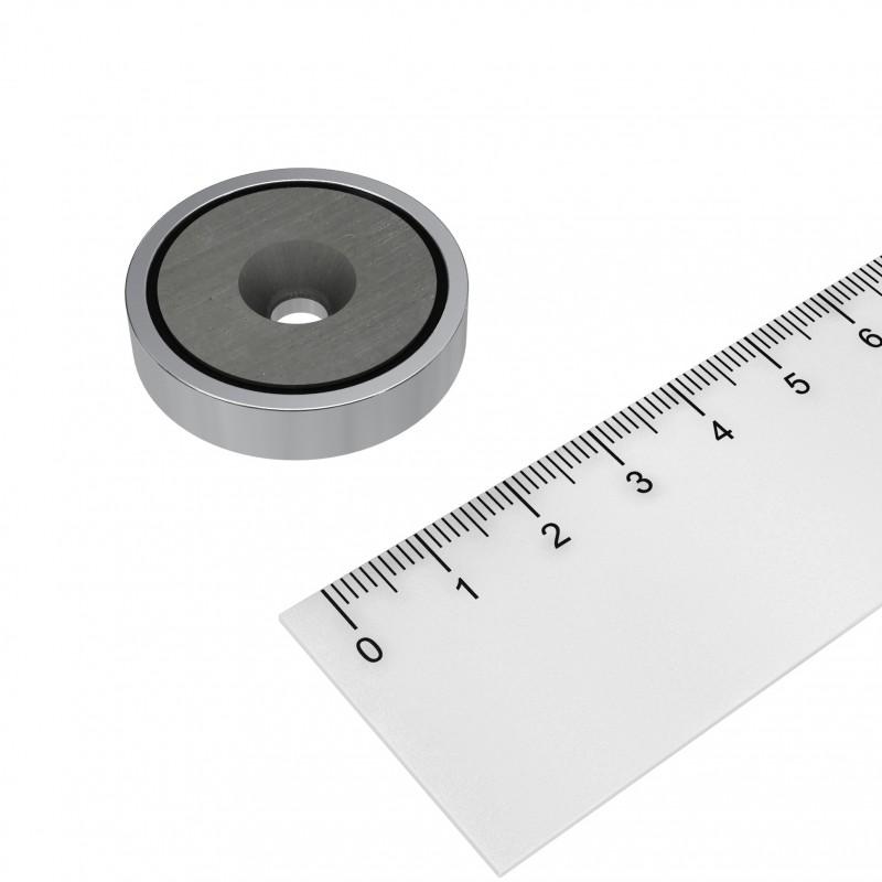 Topfmagnet Ferrit 32x7 mm mit Bohrung und Senkung