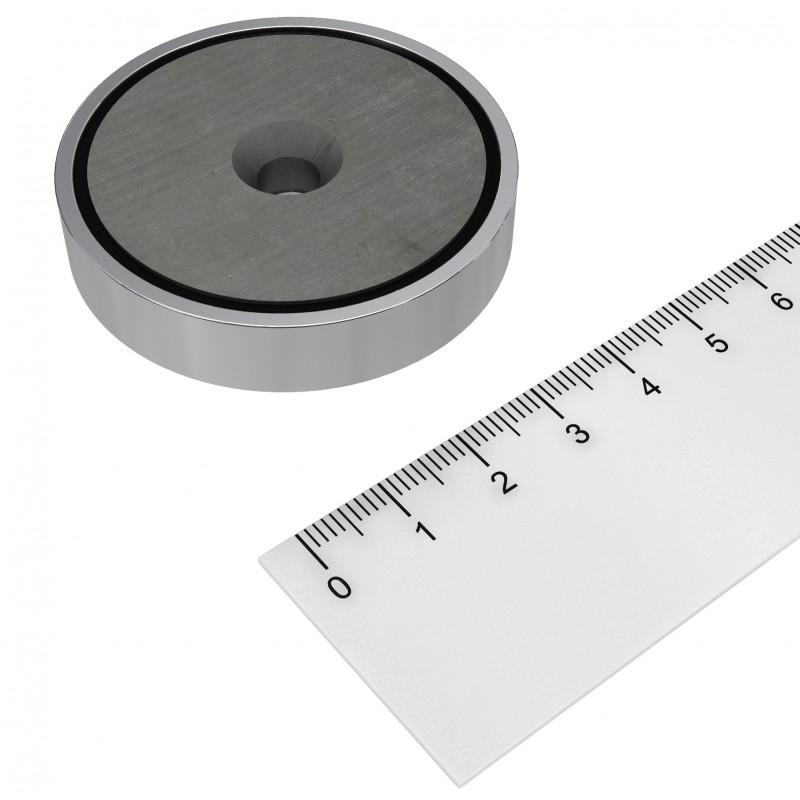 Topfmagnet Ferrit 50x10 mm mit Bohrung und Senkung