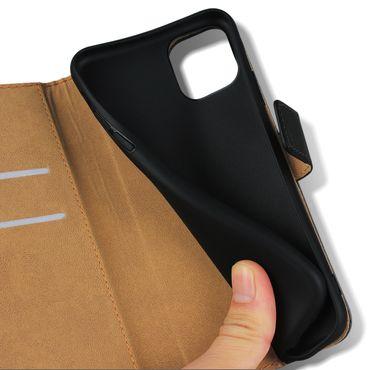 Leder Tasche Apple iPhone 11 Hülle Schwarz Schutzhülle Flip Case Handy Cover  – Bild 8