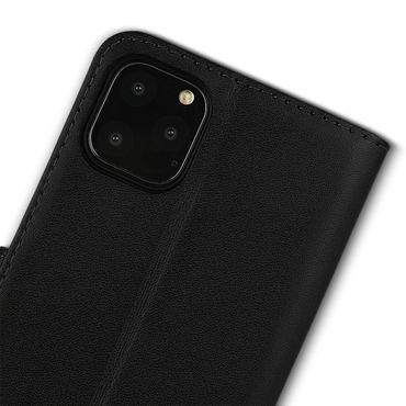 Leder Tasche Apple iPhone 11 Pro Max Hülle Schwarz Schutzhülle Flip Case Cover  – Bild 9