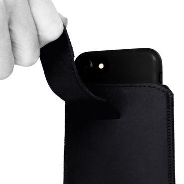 Schutzhülle für Samsung Galaxy A30s Handy Leder Tasche Hülle Schwarz Pull Tab – Bild 8