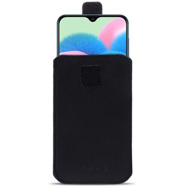 Schutzhülle für Samsung Galaxy A30s Handy Leder Tasche Hülle Schwarz Pull Tab – Bild 2