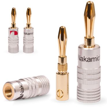 4x High End Nakamichi Bananenstecker Bananas für Kabel bis 6mm² 24K vergoldet – Bild 1