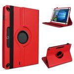 Tablet Tasche für 10 - 10.1 Zoll Hülle Schutzhülle Cover Case Rot 360° Drehbar 001