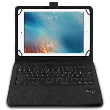NAUC Hülle-Tasche-Keyboard-Case für Apple iPad Air Tastatur Bluetooth QWERTZ Standfunktion Micro USB  – Bild 2