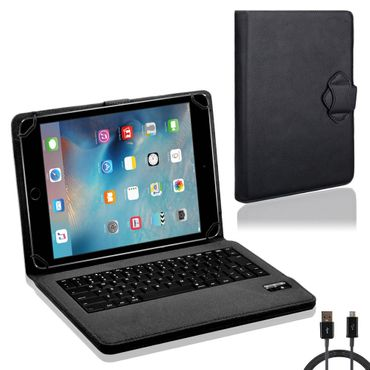 NAUC Hülle-Tasche-Keyboard-Case für Apple iPad Air 2 Tastatur Bluetooth QWERTZ Standfunktion Micro USB  – Bild 1