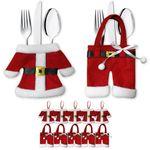 Besteckhalter Weihnachten Bestecktasche 6er Set Besteckbeutel Serviettentasche 001