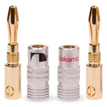 10x High End Nakamichi Bananenstecker Bananas für Kabel bis 6mm² 24K vergoldet – Bild 9