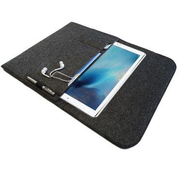 NAUCI Edle und umweltfreundliche Laptop Schutzhülle für Samsung Galaxy Tab A 10.1 (2016) aus strapazierfähigem Filz in dunkel Grau mit praktischen Innentaschen Sleeve Hülle Tasche Cover Notebook Case Tasche – Bild 2