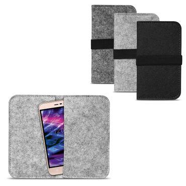 Medion Life E5020 | E5005 Tasche Filz Hülle Cover Case Handy Flip Filztasche  – Bild 2