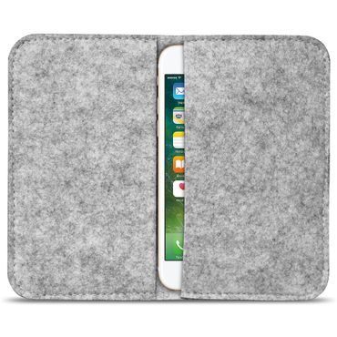 Filz Hülle für Smartphones Cover Tasche Case Flip Filztasche mit Kartenfach in verschiedenen Farben mit straffen Gummiband passend von UC-Express® – Bild 3