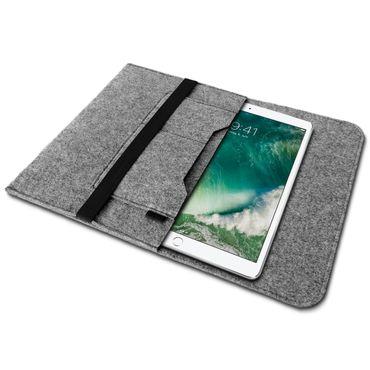 Edle und umweltfreundliche Laptop Schutzhülle für 9.7 - 10.1 Zoll Tablet Notebook Ultrabook Laptop aus strapazierfähigem Filz in Grau mit praktischen Innentaschen Sleeve Hülle Tasche Cover Notebook Case Tasche von UC-Express®  – Bild 2