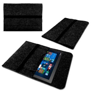 Laptop Tasche Sleeve Hülle für Lenovo Yoga Book Tablet 2 in 1  10.1 Zoll Notebook Netbook Ultrabook Case aus strapazierfähigem Filz in Dunkelgrau mit praktischen Innentaschen von NAUCI – Bild 1