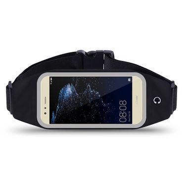 Huawei P10 Lite Tasche Hülle Schwarz Jogging Fitnesstasche Bauchtasche Lauf Case – Bild 1
