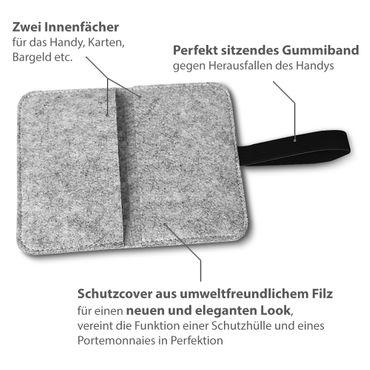 Filz Tasche für Sony Xperia XZ2 Compact Hülle Cover Handy Case Schutzhülle Etui – Bild 15
