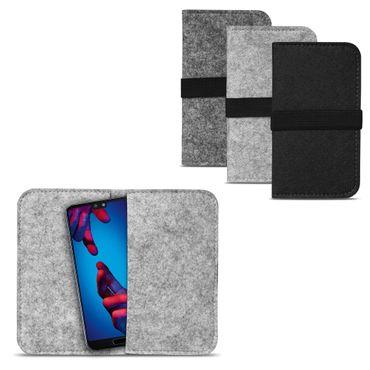 Filz Hülle Tasche Huawei P20 Cover Handy Case Universal Schutzhülle Schutz Etui – Bild 2