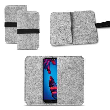 Smartphone Tasche Huawei P20 Pro Hülle Cover Schutzhülle Sleeve Filz Handy Case – Bild 2