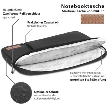 Notebook Tasche Medion Akoya E4254 Hülle Schutzhülle Schwarz / Grau Cover Case – Bild 14