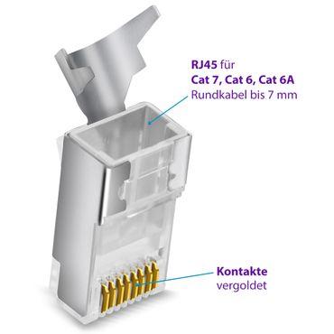 1x Netzwerkstecker CAT7 CAT6 CAT6A RJ45 Netzwerk DSL Stecker vergoldete Kontakte – Bild 7