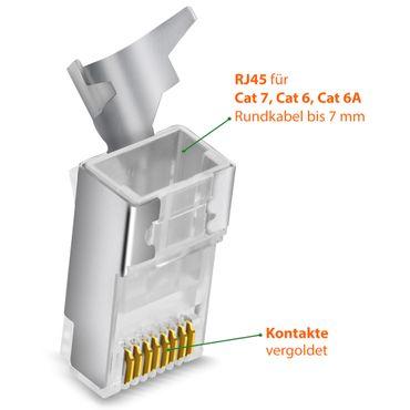 Netzwerkstecker CAT 7 CAT 6 CAT 6A RJ45 Netzwerk LAN Stecker vergoldete Kontakte – Bild 14