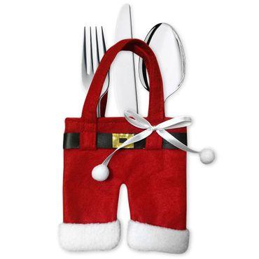 6er Set Besteckhalter Bestecktasche Weihnachten Besteck Beutel Serviettentasche  – Bild 5