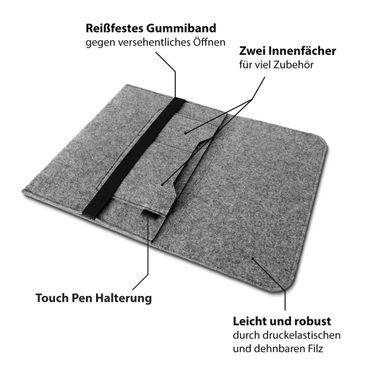 Sleeve Hülle TrekStor Primebook U13B Tasche Filz Notebook Cover Schutz Case Grau – Bild 8