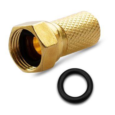 2x F-Stecker Vergoldet 7mm breite Mutter Gummidichtung Sat Antennen Koaxialkabel – Bild 8